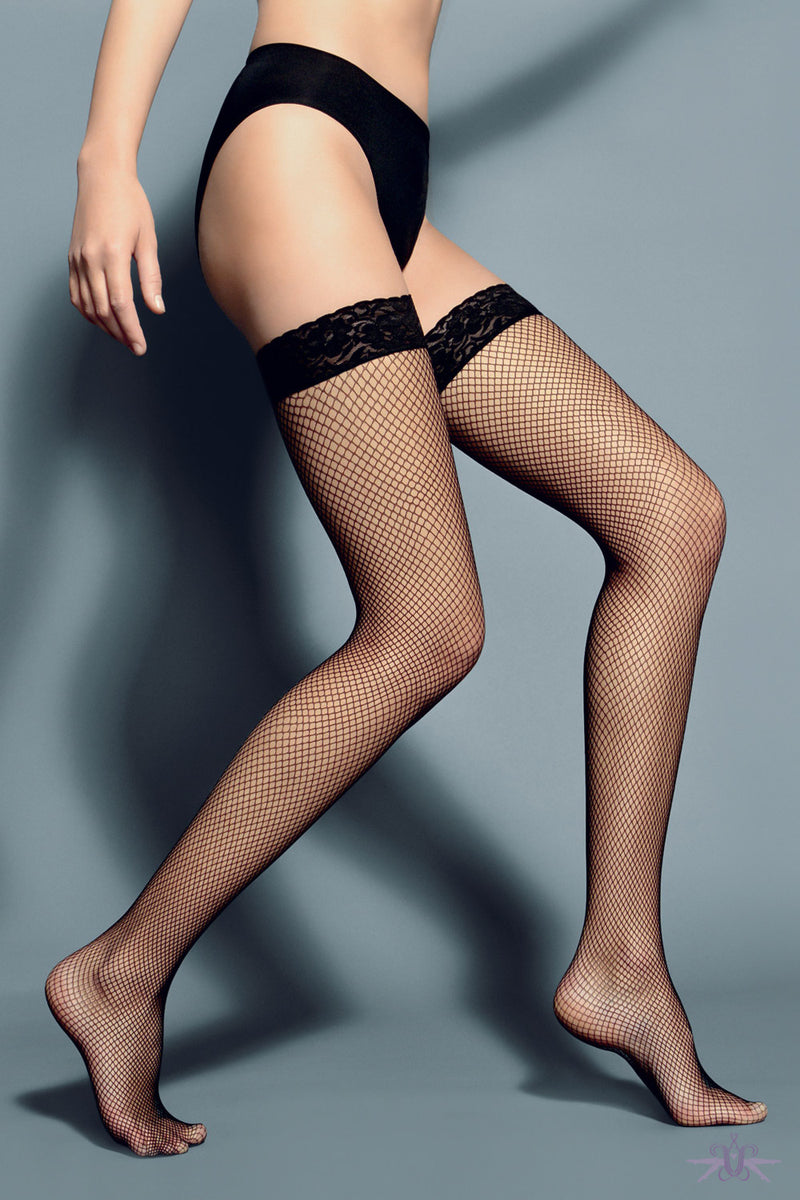 Veneziana Fishnet Hold Ups - Mayfair Stockings