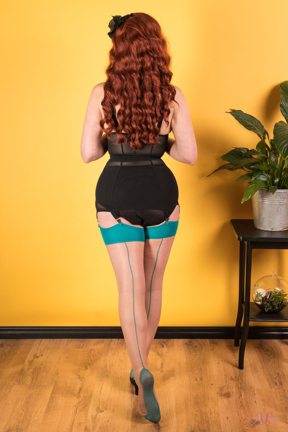 What Katie Did Contrast Nude/Teal Seamed Stockings - Mayfair Stockings