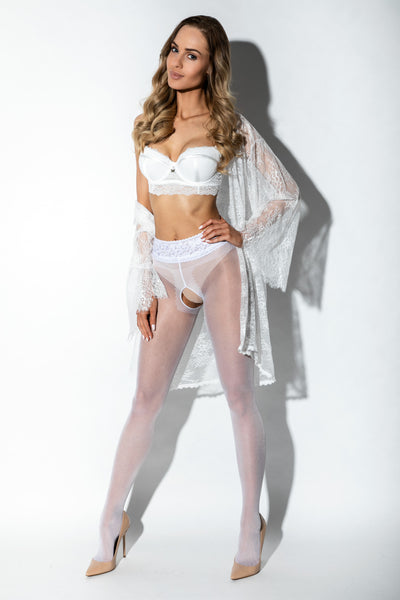 Amour White Lace Crotchless Tights