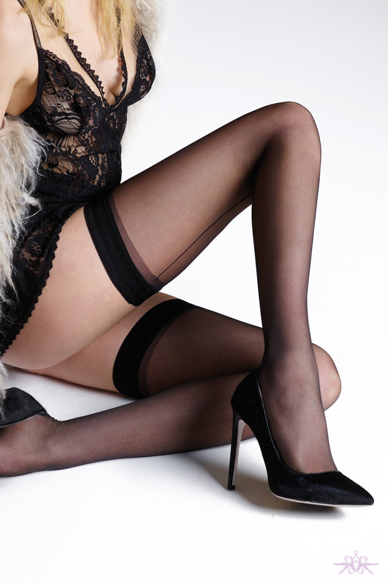Jonathan Aston Vintage Black Back Seam and Heel Hold Ups - Mayfair Stockings