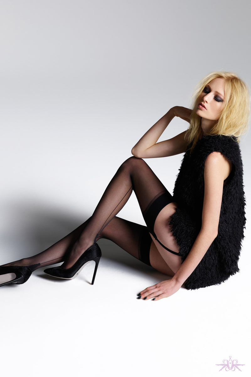Jonathan Aston Vintage Black Back Seam and Heel Stockings - Mayfair Stockings