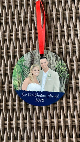 First Christmas Married Photo Christmas Ornament