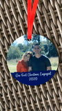 First Christmas Engaged Photo Christmas Ornament