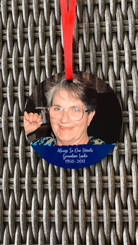 Always in Our Hearts Memorial Photo Christmas Ornament
