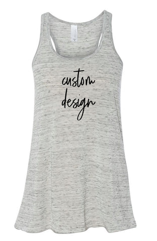 Custom Bella White Marble Tank Top | Women's Graphic Tees