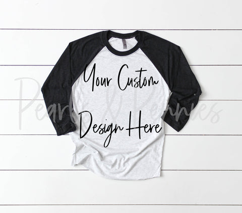 Custom Black Raglan Women's Graphic Tees
