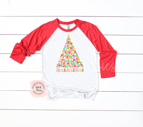 FALALALA - Red Marble | Women's Christmas Graphic Tees