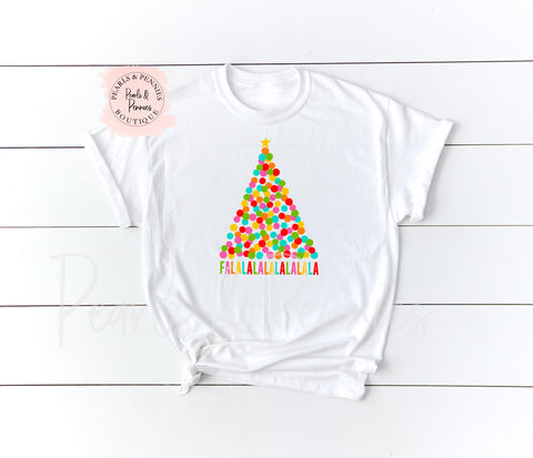 FALALALA - White Shirt | Women's Christmas Graphic Tees