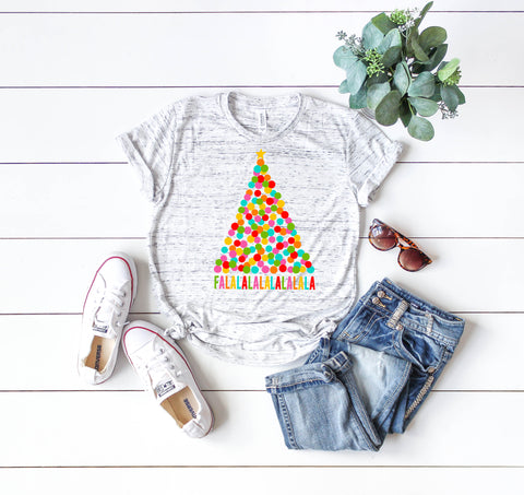 FALALALA - White Marble | Women's Christmas Graphic Tees
