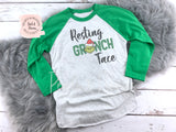 Resting Mean Face Shirt - Green Raglan | Women's Christmas Graphic Tees