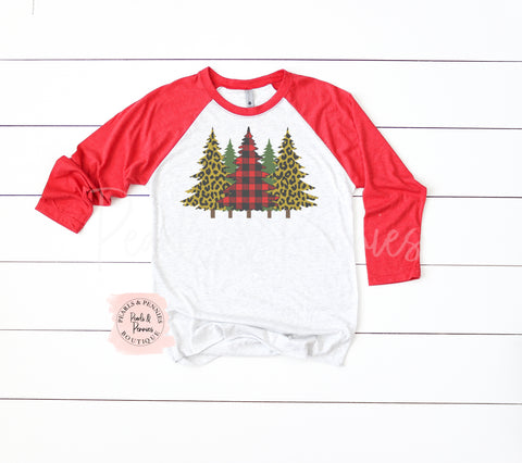 Leopard and Buffalo Plaid Christmas Trees - Red Raglan | Women's Christmas Graphic Tees