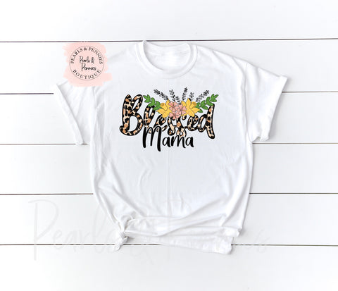 Leopard Blessed Mama Tee | Women's Graphic Tees
