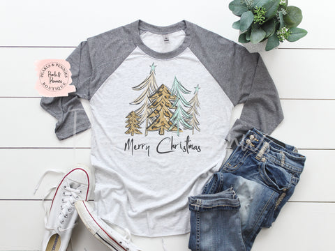 Christmas Tree Shirt - Gray Raglan | Women's Christmas Graphic Tees