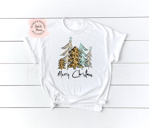 Christmas Tree Shirt - White | Women's Christmas Graphic Tees