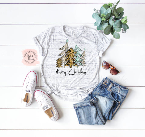 Christmas Tree Shirt - White Marble | Women's Christmas Graphic Tees