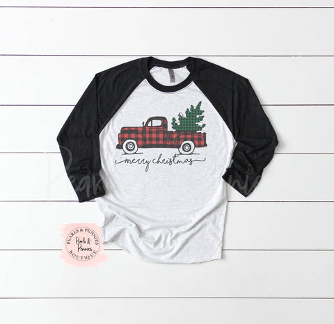 Christmas Truck Shirt - Black Raglan | Women's Christmas Graphic Tees