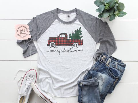 Christmas Truck Shirt - Gray Raglan | Women's Christmas Graphic Tees