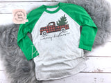 Christmas Truck Shirt - Green Raglan | Women's Christmas Graphic Tees