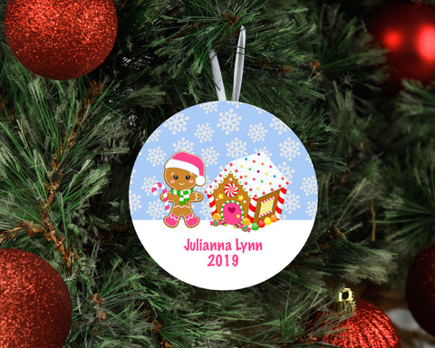 Baby Girl Ornament Keepsake | Gingerbread House