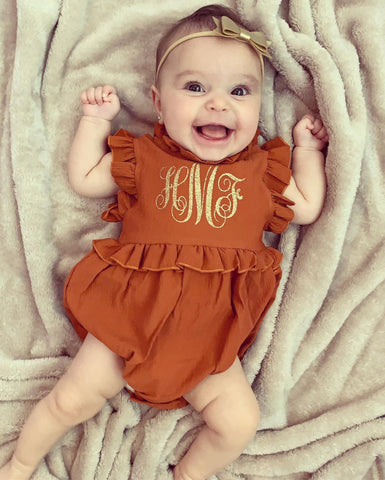 Monogrammed Thanksgiving Baby Outfit | Monogrammed Fall Outfit | Girls Fall Romper