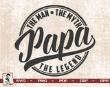 Fathers Day Shirt for Papa | The Man The Myth The Legend