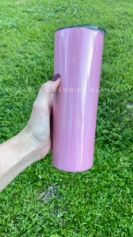20oz Skinny Pink Glitter Tumbler | Sublimation Blanks
