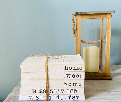 Home Sweet Home Coordinates Hand Stamped Books