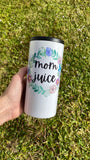 Mom Juice | Skinny White Shimmer Tumbler or Can Cooler