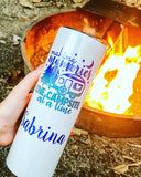 Camping Gift, Making Memories One Campsite at a Time | Skinny White Shimmer Tumbler or Can Cooler