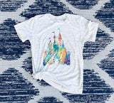Watercolor Castle Tee Shirt | Women's Graphic Tees