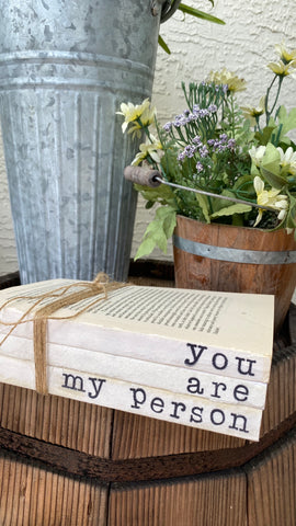 You are my person Hand Stamped Books