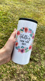 Adulting | Skinny White Shimmer Tumbler or Can Cooler