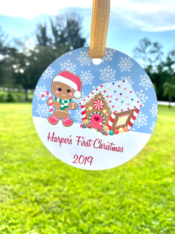 Baby Girl's 1st Christmas Ornament | Baby's First Christmas, Girl Gingerbread