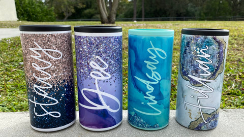 Custom Name Geode / Glitter Designs | Tumbler Can Cooler