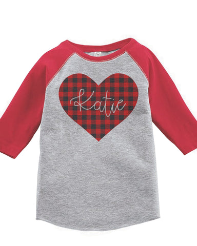 Kids Personalized Valentines Heart Shirt or Bodysuit | Baby & Kids Graphic Tees