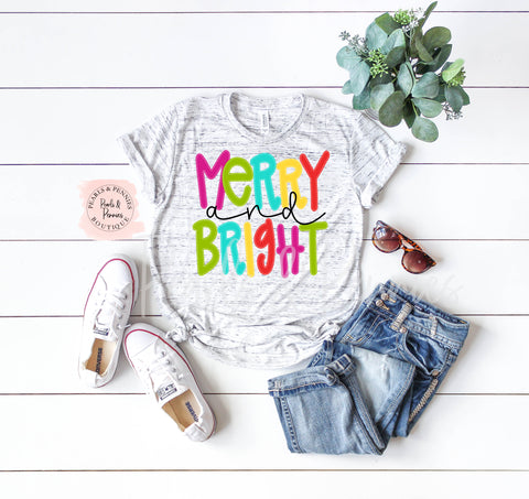 Merry & Bright - White Marble | Women's Christmas Graphic Tees