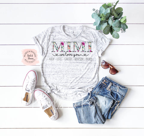 Floral Personalized Mimi Shirt | Women's Graphic Tees