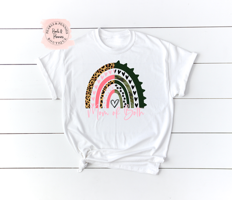 Mom of Both White Shirt | Women's Graphic Tees
