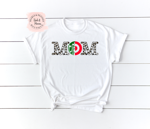 Shopping and Coffee Mom White Shirt | Women's Graphic Tees