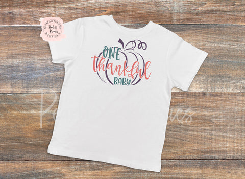 Thankful Baby White Bodysuit or Shirt | Baby & Kids Fall Halloween Graphic Tees  | Mommy & Me