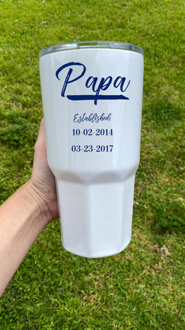 Personalized Papa Tumbler with Dates