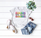 Personalized Crayon Teacher Shirt | Women's Graphic Tees