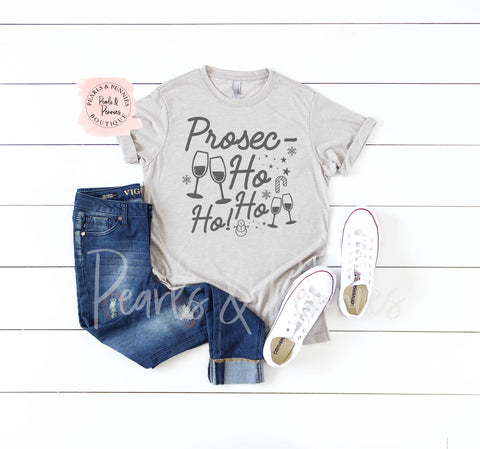 Prosecco Gray Shirt | Women's Christmas Graphic Tees