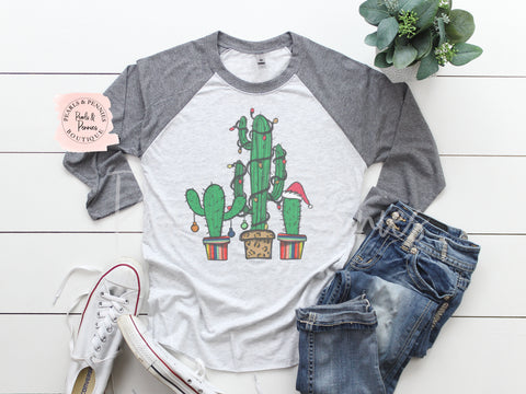 Christmas Cactus Shirt - Gray Raglan | Women's Christmas Graphic Tees