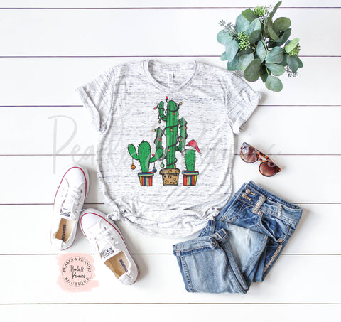 Christmas Cactus Shirt - White Marble | Women's Christmas Graphic Tees