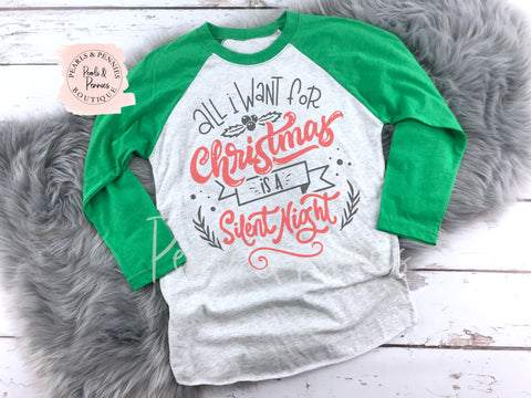 Silent Night Shirt - Green Raglan | Women's Christmas Graphic Tees