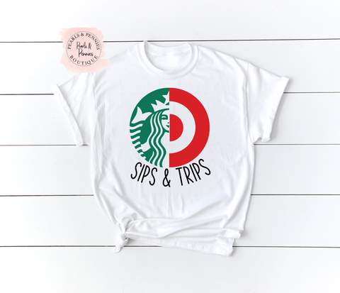 Sips & Trips White Shirt | Women's Graphic Tees