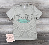 Thankful Feather Gray V Neck | Women's Fall Graphic Tees