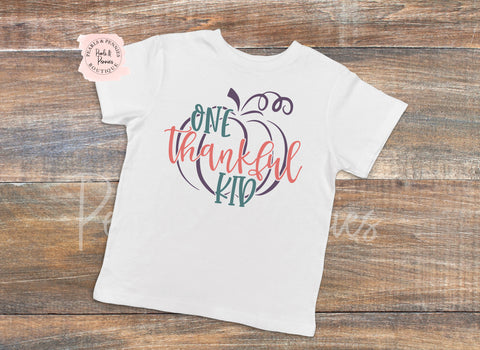 Thankful Kid White Shirt or Bodysuit | Baby & Kids Fall Halloween Graphic Tees | Mommy & Me