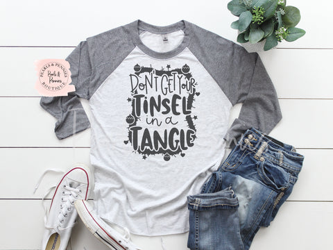 Tinsel in a Tangle Shirt - Gray Raglan | Women's Christmas Graphic Tees